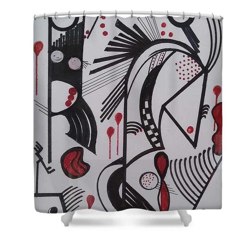 Abstract Shower Curtain featuring the painting Caminos by Carol P Kingsley