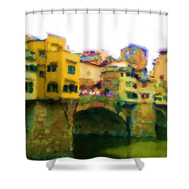 Florence Shower Curtain featuring the mixed media Florence by Asbjorn Lonvig