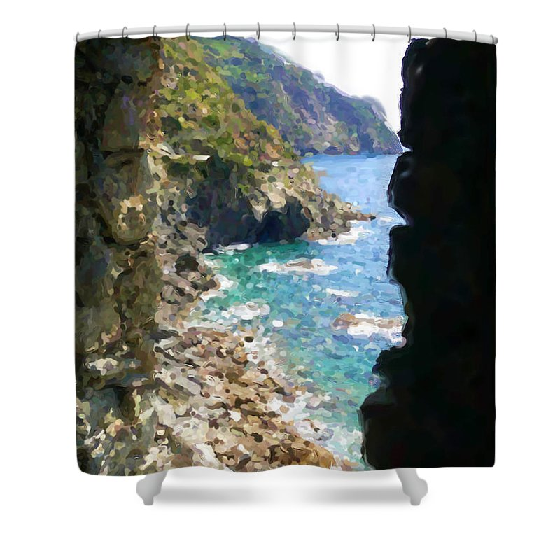 Cinque Terre Shower Curtain featuring the mixed media Cinque Terre by Asbjorn Lonvig