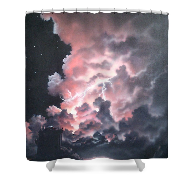 Castle Shower Curtain featuring the painting Untitled 6 by Philip Fleischer