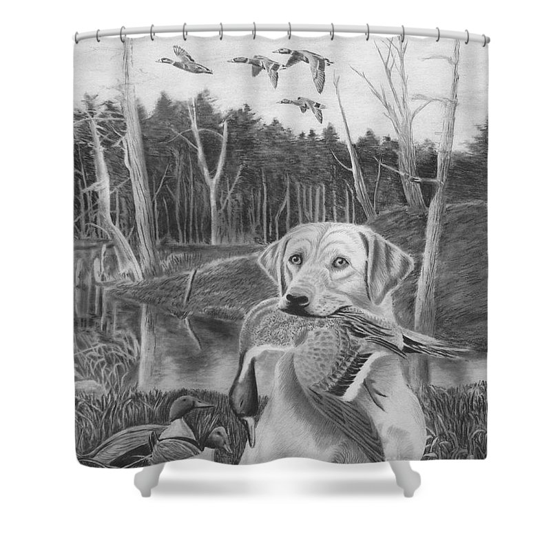 A Mouth Full Shower Curtain featuring the drawing A Mouth Full by Peter Piatt