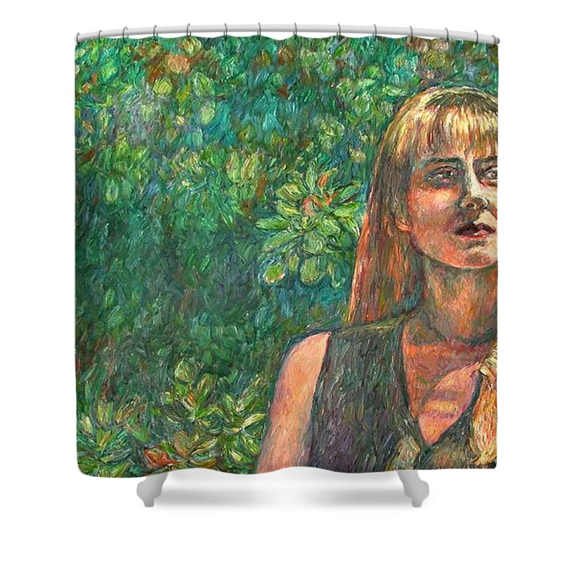 Figure Painting Shower Curtain featuring the painting A Skater by Kendall Kessler