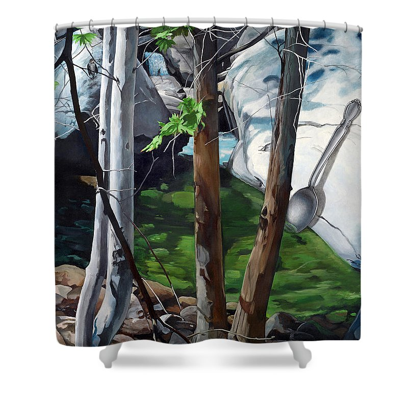 Landscape Shower Curtain featuring the painting A Taste of Nature by Snake Jagger