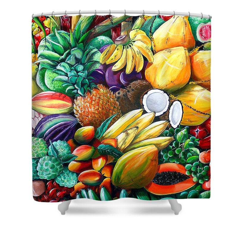 Caribbean Fruit Painting Tropical Fruit Painting Caribbean Pineapple Mangoes Bananas Coconut Watermelon Tropical Fruit Painting Shower Curtain featuring the painting A Taste Of The Islands by Karin Dawn Kelshall- Best
