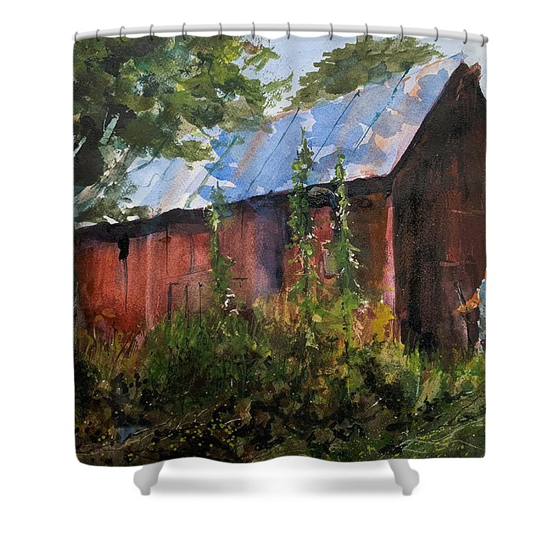 Rural. Barn Shower Curtain featuring the painting Abandoned at Aum Creek by Charles Rowland