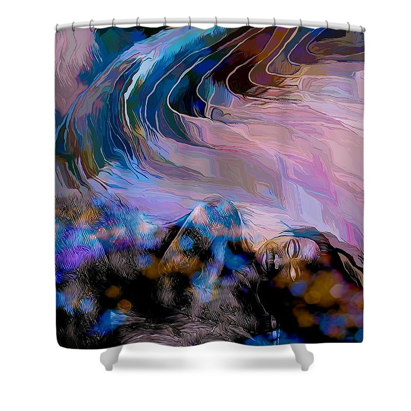 Modern Abstract Art Shower Curtain featuring the mixed media Abstract Island Girl Slumbering On The Beach by Joan Stratton