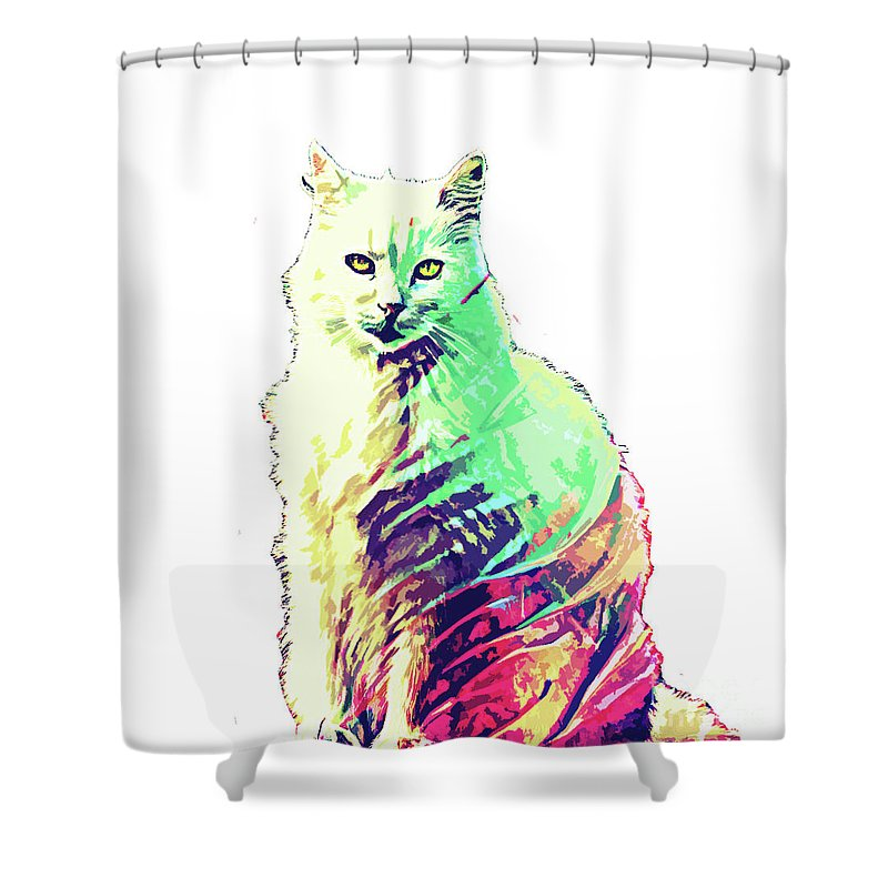 Cat Shower Curtain featuring the digital art Abstrat Angora Cat by Trindira A
