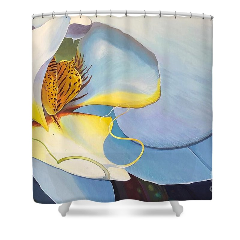 Orchid Shower Curtain featuring the painting All You Need is Now by Hunter Jay