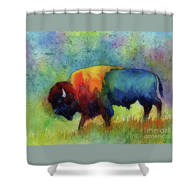 Bison Shower Curtain featuring the painting American Buffalo III by Hailey E Herrera