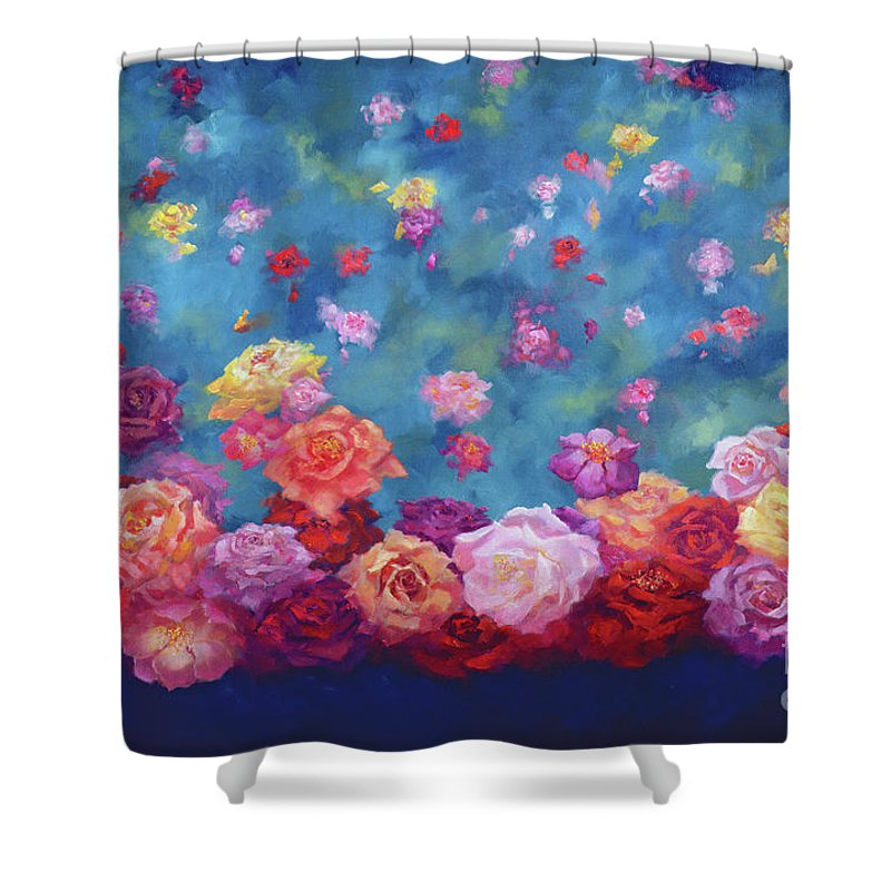 Anniversary Roses Shower Curtain featuring the painting Anniversary by Lee Campbell