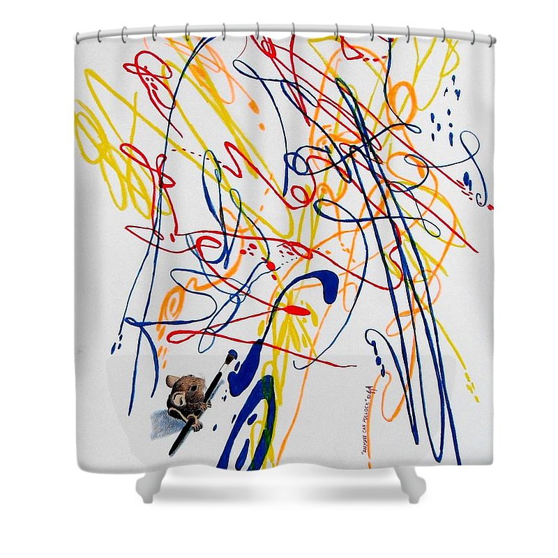 Mouse Shower Curtain featuring the painting Anyone Can Pollock by A Robert Malcom