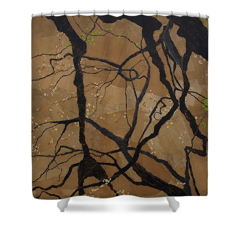 Abstract Tree Branches Shower Curtain featuring the painting Arboretum Dancers by Leah Tomaino