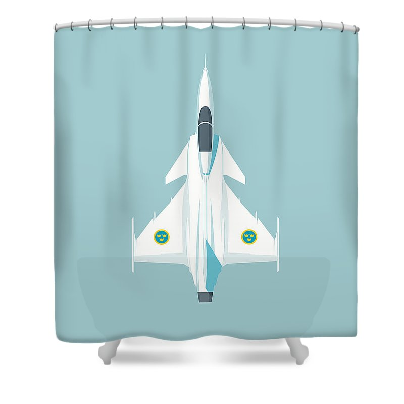 Gripen Shower Curtain featuring the digital art Jas 39 Gripen Fighter Jet - Sky by Organic Synthesis