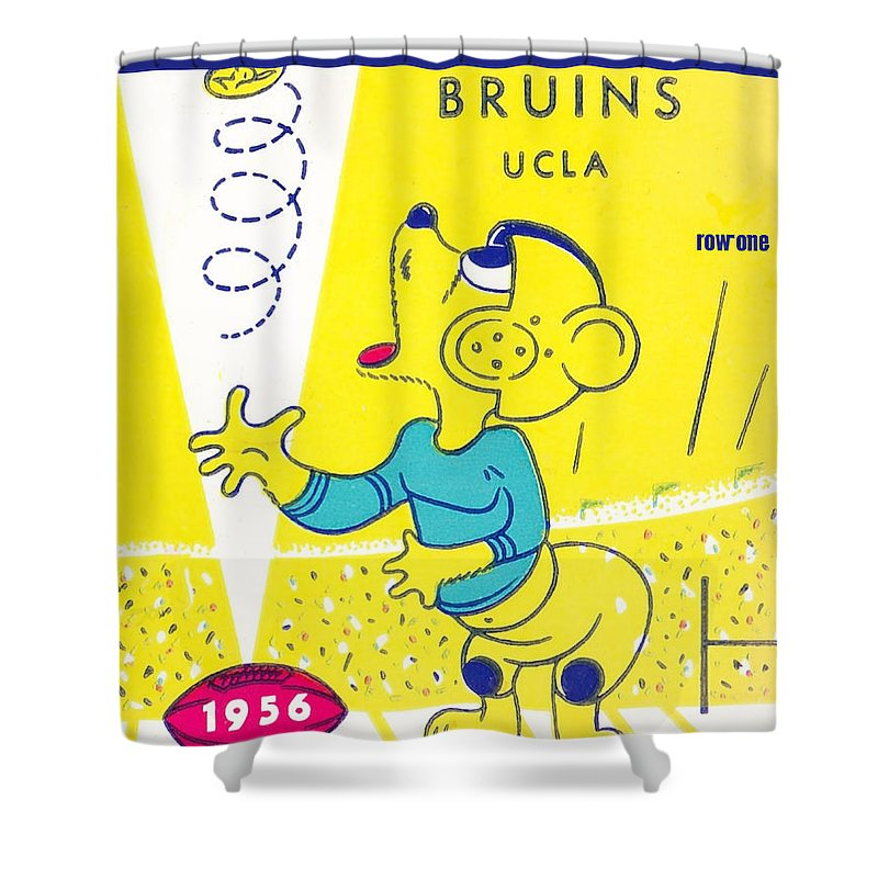 Ucla Shower Curtain featuring the mixed media 1956 Coin Toss by Row One Brand