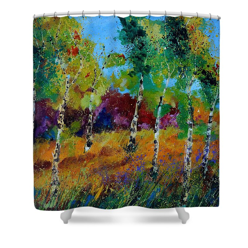 Landscape Shower Curtain featuring the painting Aspen trees in autumn by Pol Ledent