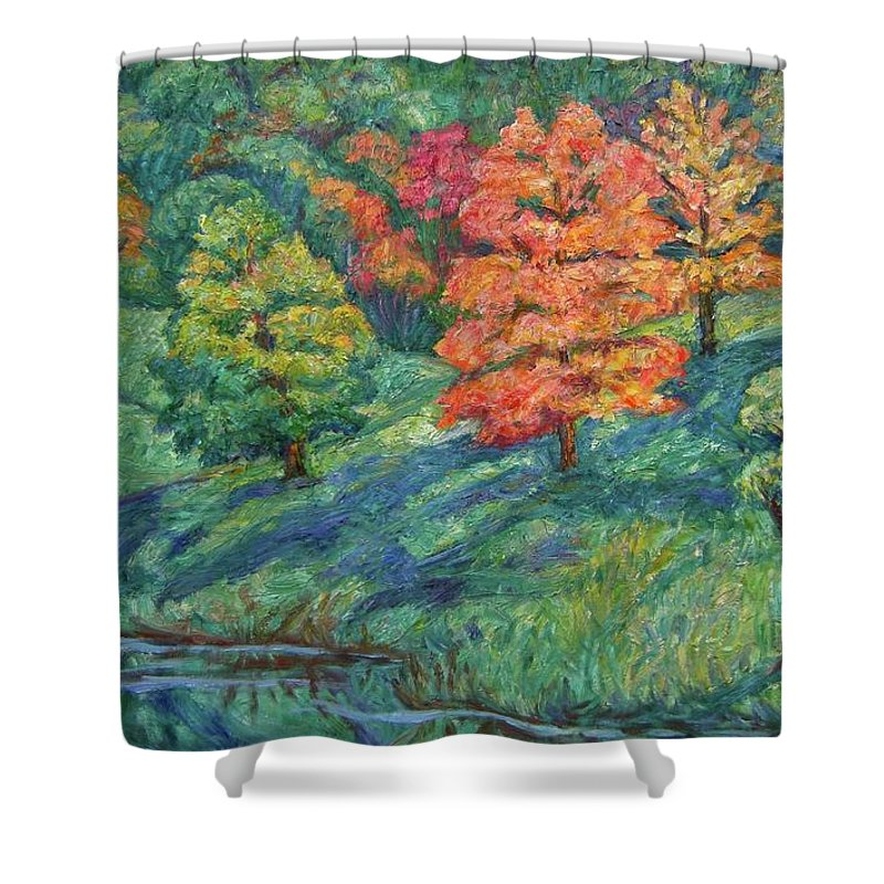 Landscape Shower Curtain featuring the painting Autumn Pond by Kendall Kessler