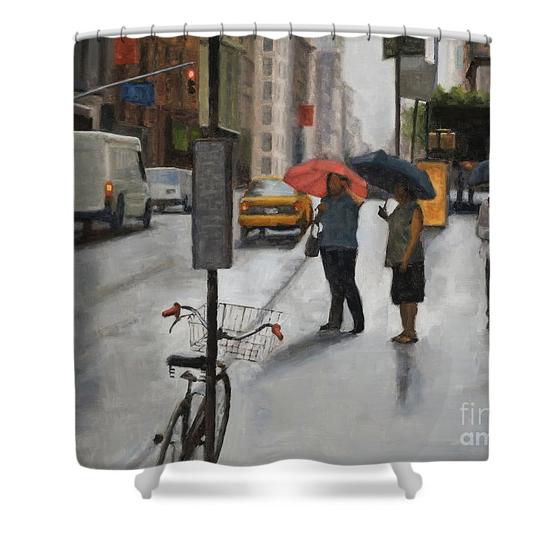 Rain Shower Curtain featuring the painting Awaiting a cab by Tate Hamilton