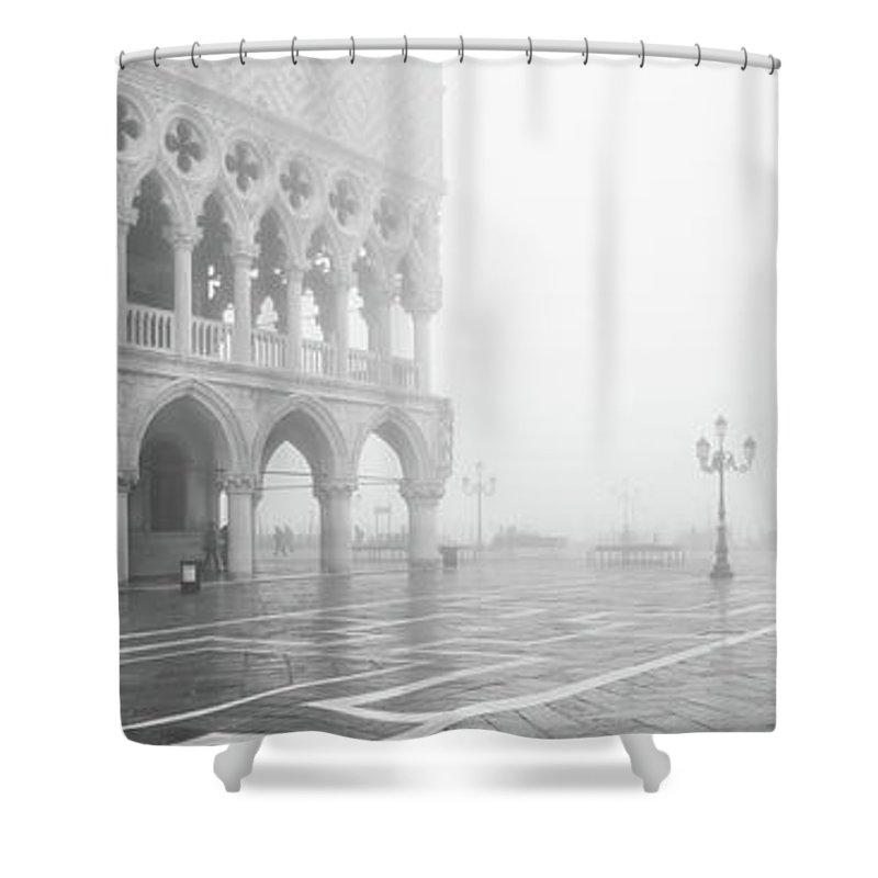 Ducale Shower Curtain featuring the photograph B0006060 - Nebbia Ducale B/n by Marco Missiaja