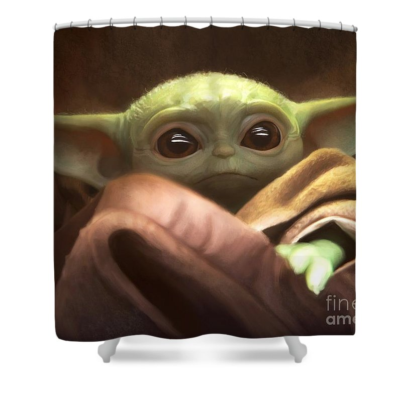 Yoda Shower Curtain featuring the painting Baby Yoda by Paul Tag
