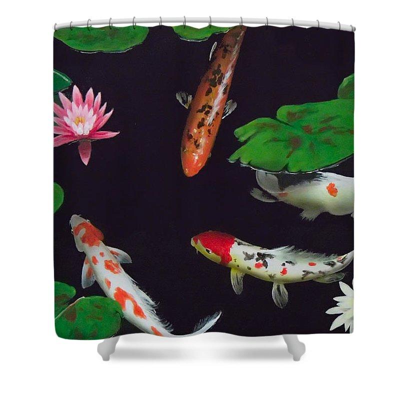 Koi Shower Curtain featuring the painting Barbie's Koi pond by Philip Fleischer