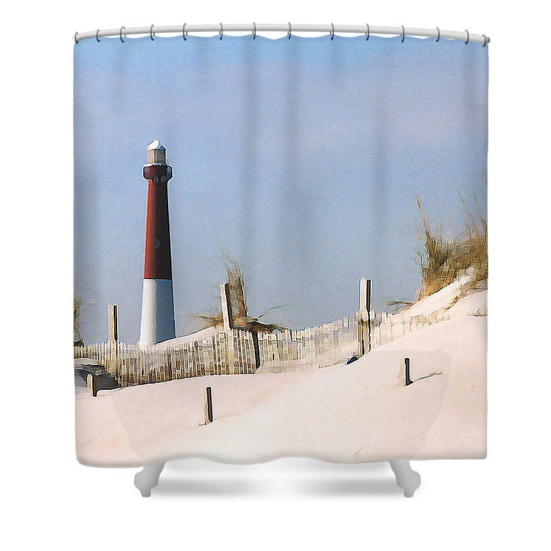 Barnegat Shower Curtain featuring the photograph Barnegat Lighthouse by Steve Karol