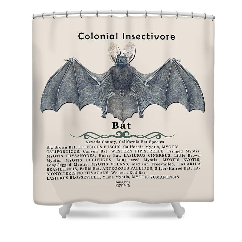 Bat Shower Curtain featuring the digital art Bats Of Nevada County by Lisa Redfern