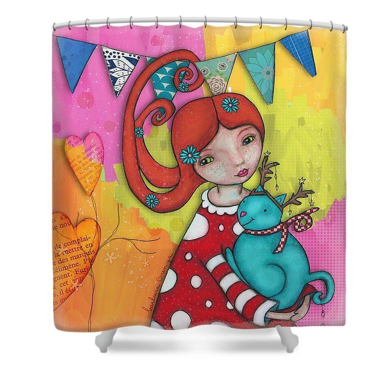 Painting Shower Curtain featuring the mixed media Be My Deer by Barbara Orenya