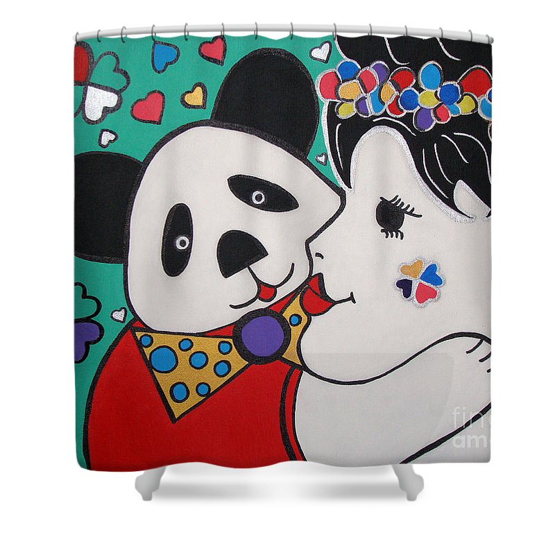 Pop-art Shower Curtain featuring the painting Bear Hug by Silvana Abel