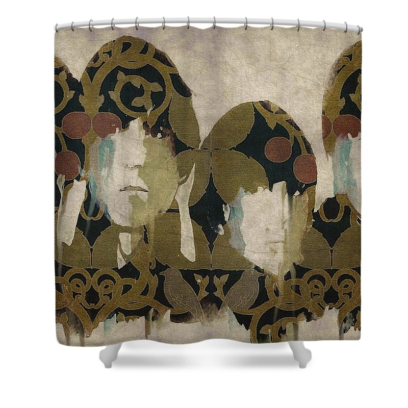 The Beatles Shower Curtain featuring the mixed media Beatles For Sale by Paul Lovering