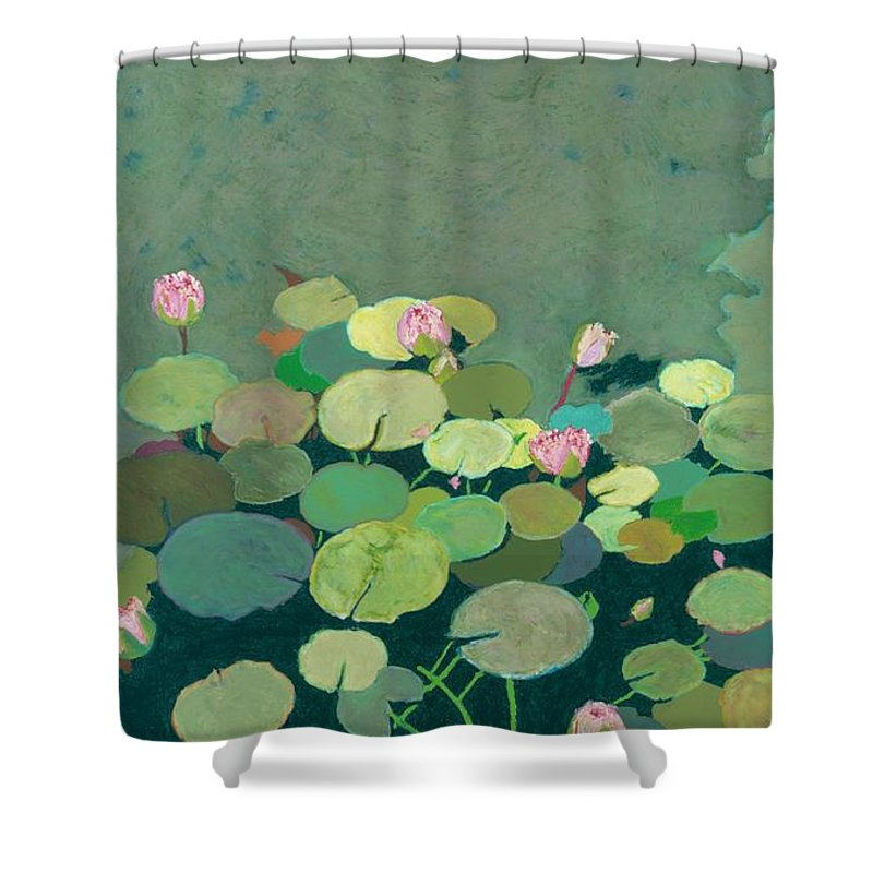 Landscape Shower Curtain featuring the painting Bettys Serenity Pond by Allan P Friedlander