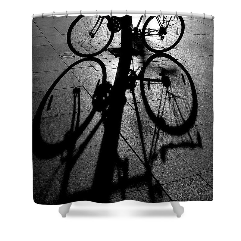 Bicycle Shower Curtain featuring the photograph Bicycle shadow by Sheila Smart Fine Art Photography