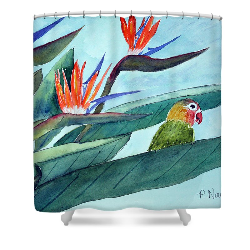 Bird Shower Curtain featuring the painting Bird In Paradise by Patricia Novack