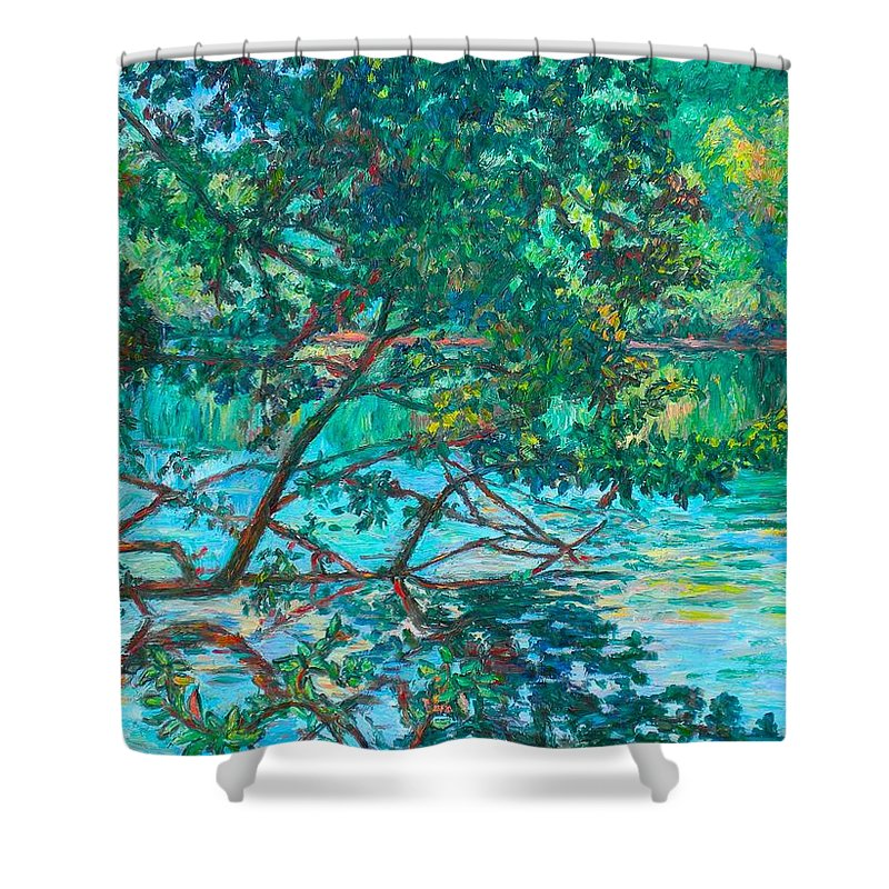 Landscape Shower Curtain featuring the painting Bisset Park by Kendall Kessler