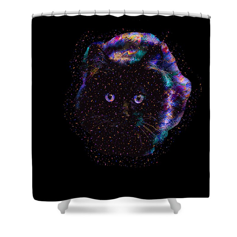 Cat Shower Curtain featuring the digital art Black Abstract Cat by Trindira A