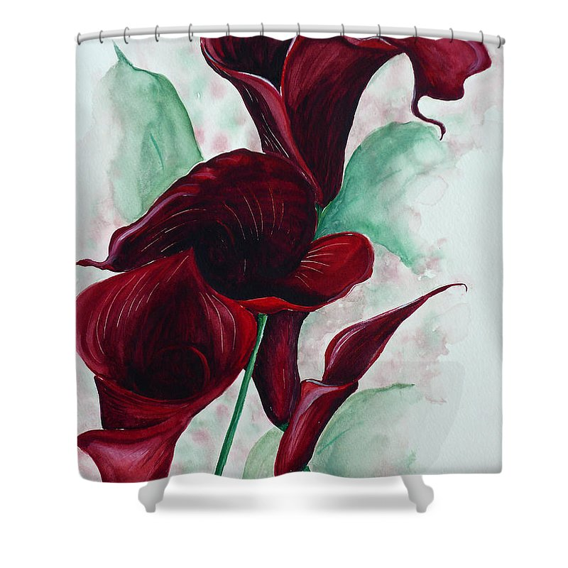 Flower Painting Floral Painting Botanical Painting Tropical Painting Caribbean Painting Calla Painting Red Lily Painting Deep Red Calla Lilies Original Watercolor Painting Shower Curtain featuring the painting Black Callas by Karin Dawn Kelshall- Best