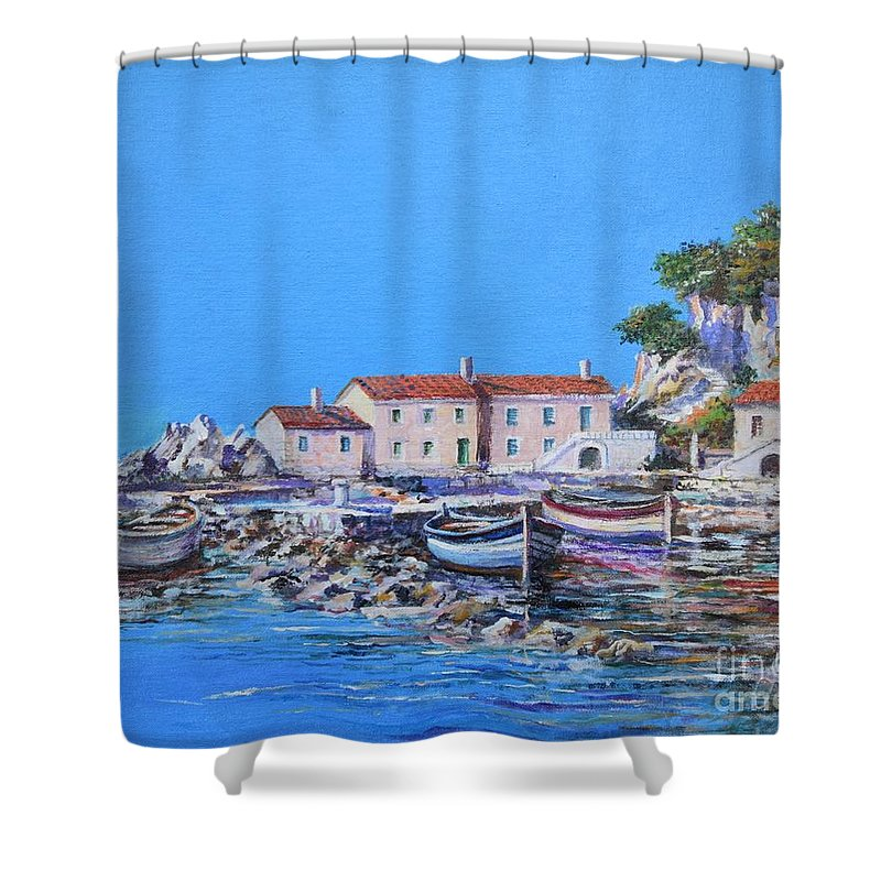 Original Painting Shower Curtain featuring the painting Blue Bay by Sinisa Saratlic