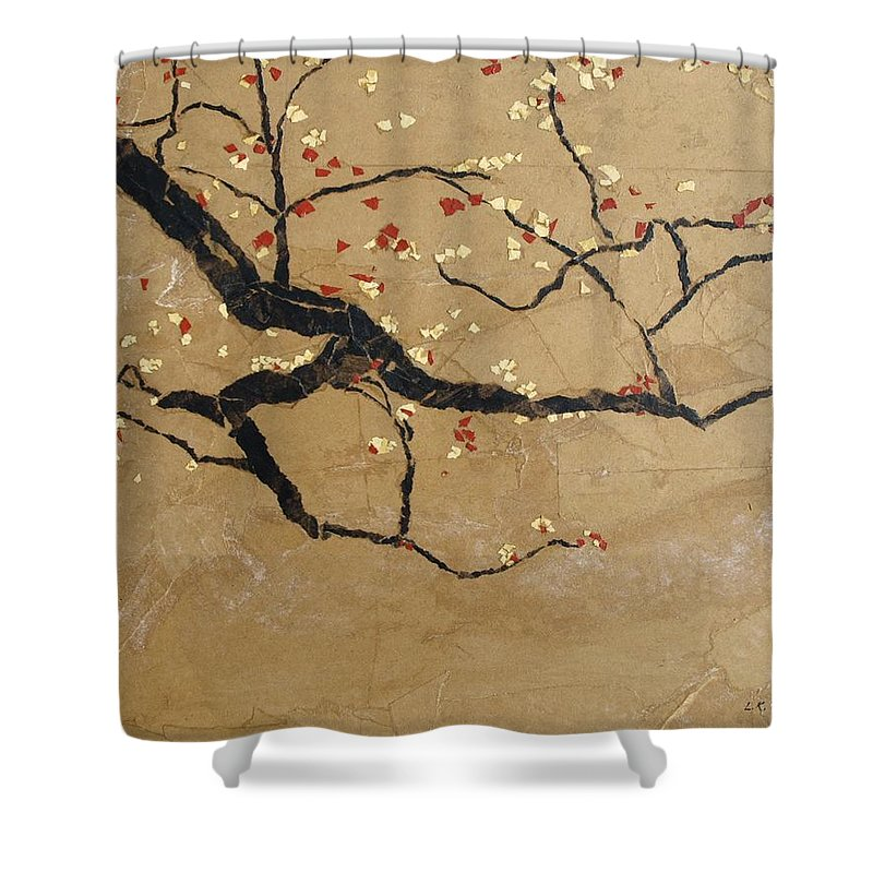 Blooming Branch Shower Curtain featuring the painting Branch by Leah Tomaino