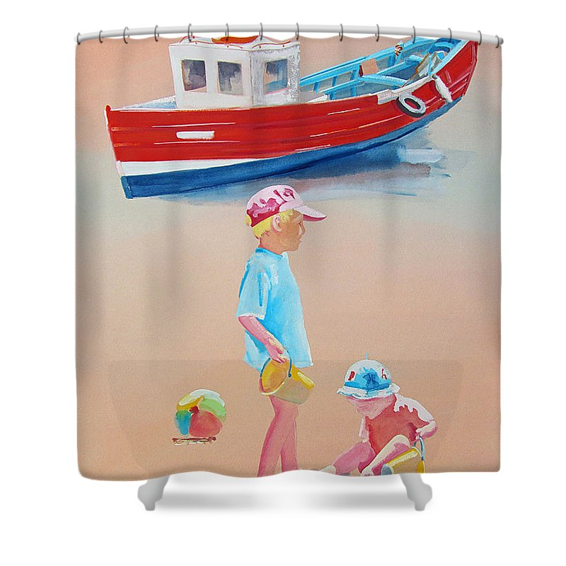 Boys Shower Curtain featuring the painting Bridlington Beach by Charles Stuart