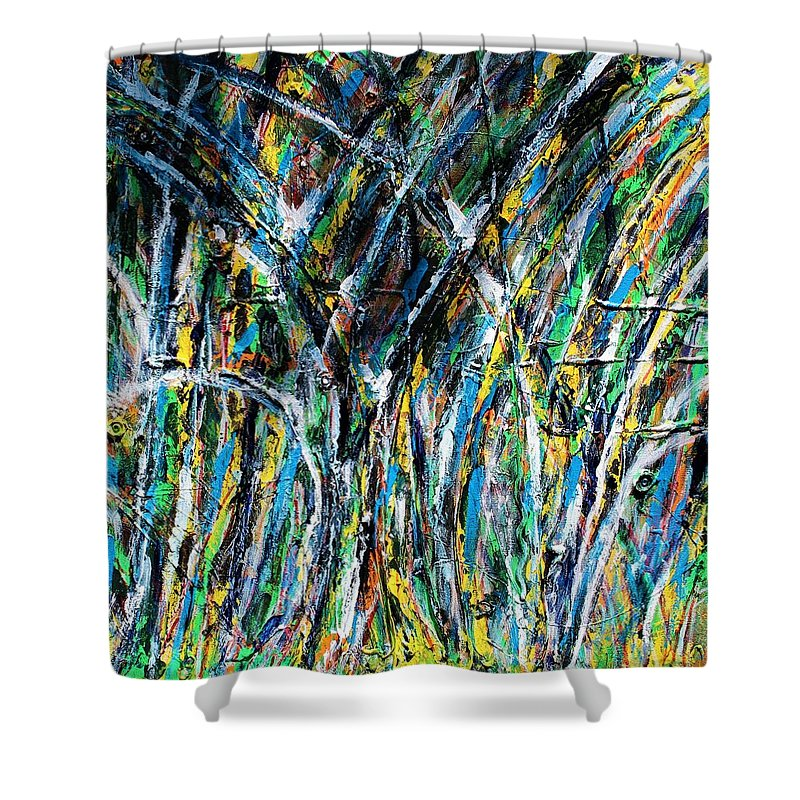 Blue Shower Curtain featuring the painting Bright Summer Day by Pam Roth O'Mara