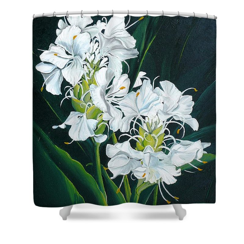 Caribbean Painting Butterfly Ginger Painting Floral Painting Botanical Painting Flower Painting Water Ginger Painting Or Water Ginger Tropical Lily Painting Original Oil Painting Trinidad And  Tobago Painting Tropical Painting Lily Painting White Flower Painting Shower Curtain featuring the painting Butterfly Ginger by Karin Dawn Kelshall- Best