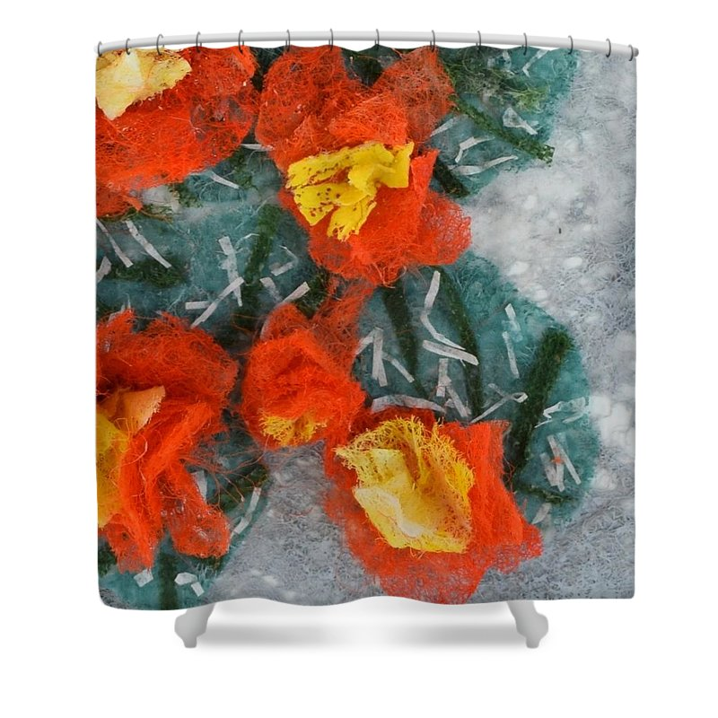 Dryer Sheets Shower Curtain featuring the mixed media Cactus Flowers by Charla Van Vlack