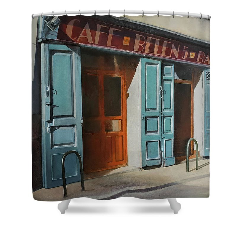Coffee Shower Curtain featuring the painting cafe Belen by Tomas Castano