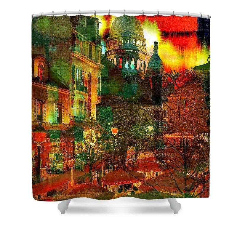 Paris Shower Curtain featuring the digital art Cafe Rue Morgue by Seth Weaver