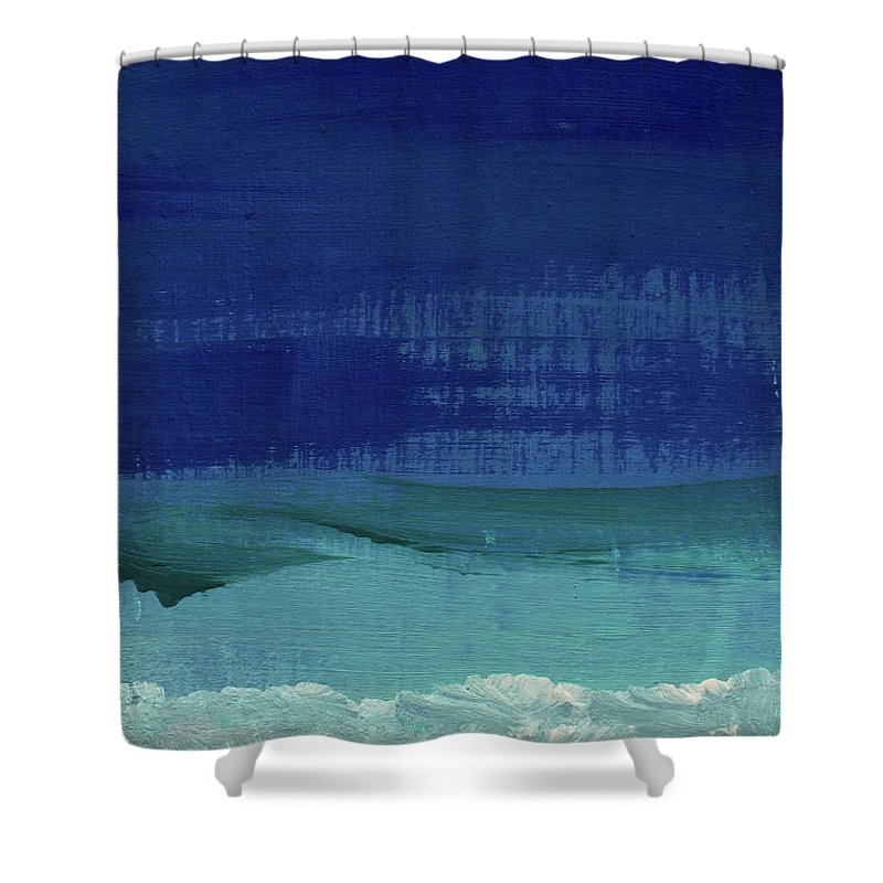 Abstract Art Shower Curtain featuring the painting Calm Waters- Abstract Landscape Painting by Linda Woods