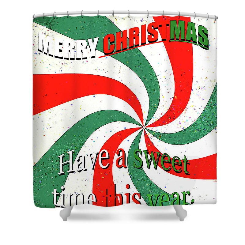 Candy Cane Shower Curtain featuring the mixed media Candy Cane Christmas Card by David Lee Thompson