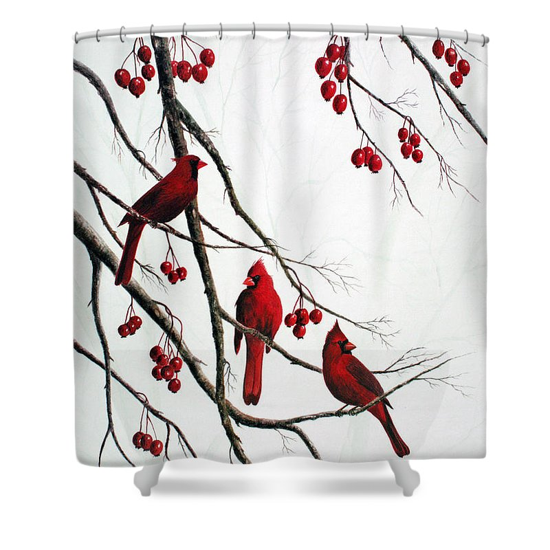 Birds; Cardinals; Trees Shower Curtain featuring the painting Cardinals And Crabapples by Ben Kiger