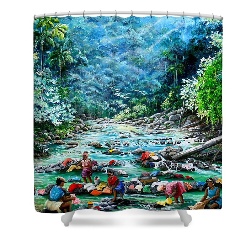 Land Scape Painting River Painting Mountain Painting Rain Forest Painting Washerwomen Painting Laundry Painting Caribbean Painting Tropical Painting Village Washer Women At A Mountain River In Trinidad And Tobago Shower Curtain featuring the painting Caribbean Wash Day by Karin Dawn Kelshall- Best