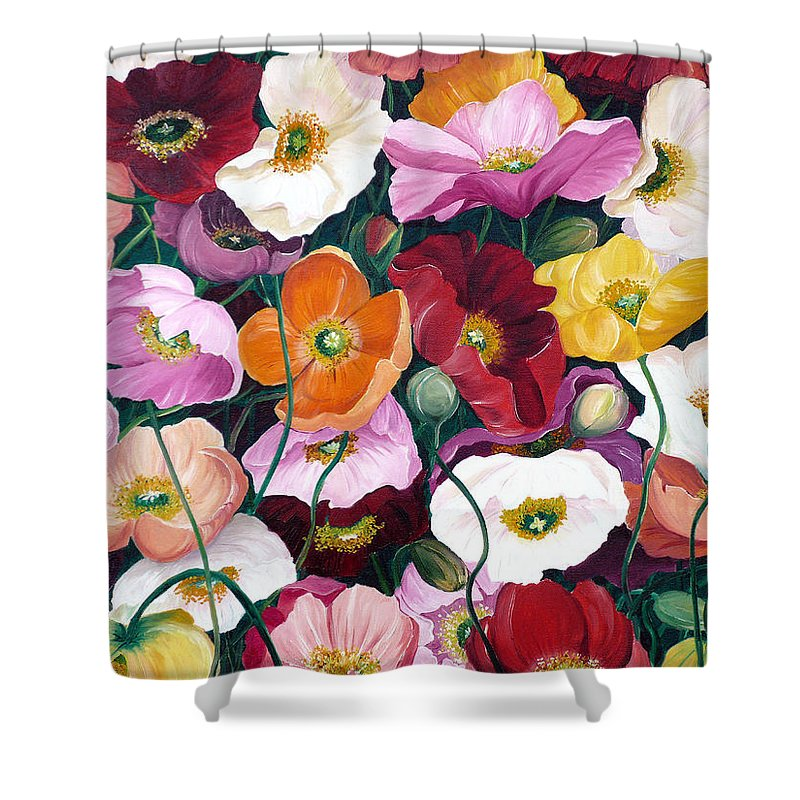 Flower Painting Floral Painting Poppy Painting Icelandic Poppies Painting Botanical Painting Original Oil Paintings Greeting Card Painting Shower Curtain featuring the painting Cascade Of Poppies by Karin Dawn Kelshall- Best