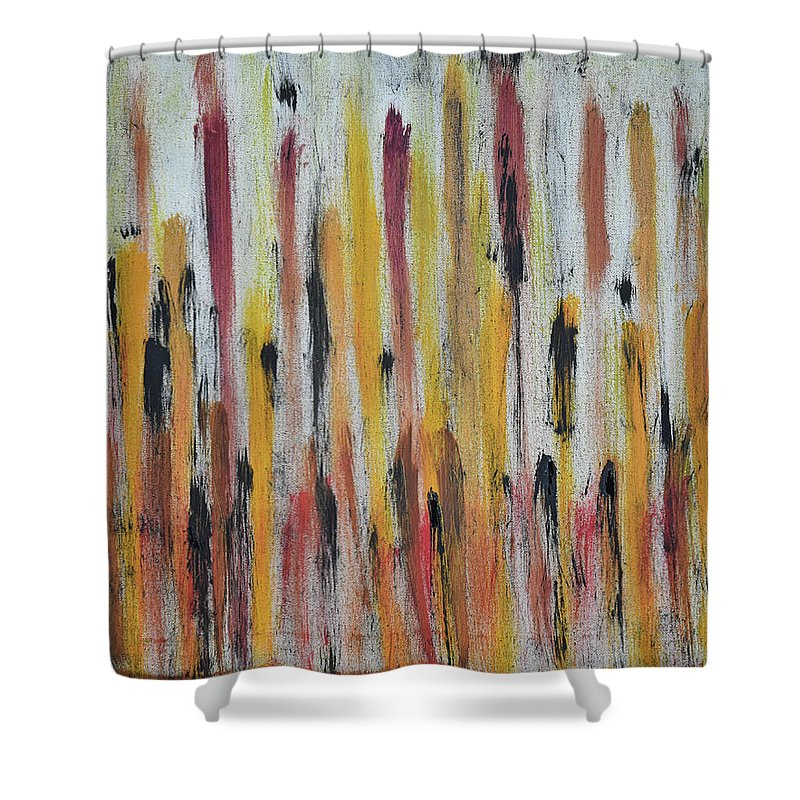 Red Shower Curtain featuring the painting Cattails at Sunset by Pam Roth O'Mara