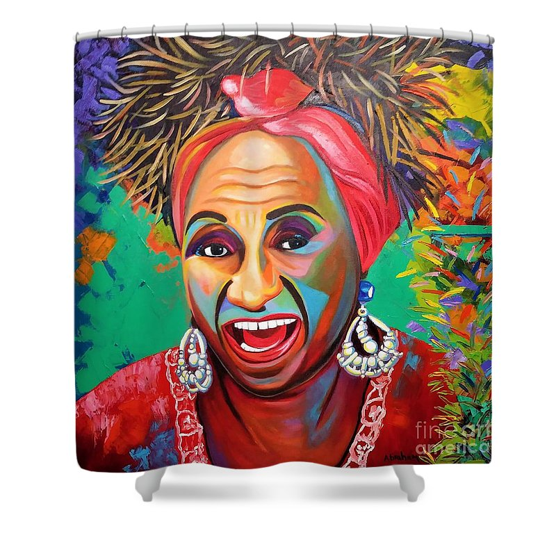 Celia Cruz Shower Curtain featuring the painting Celia by Jose Manuel Abraham